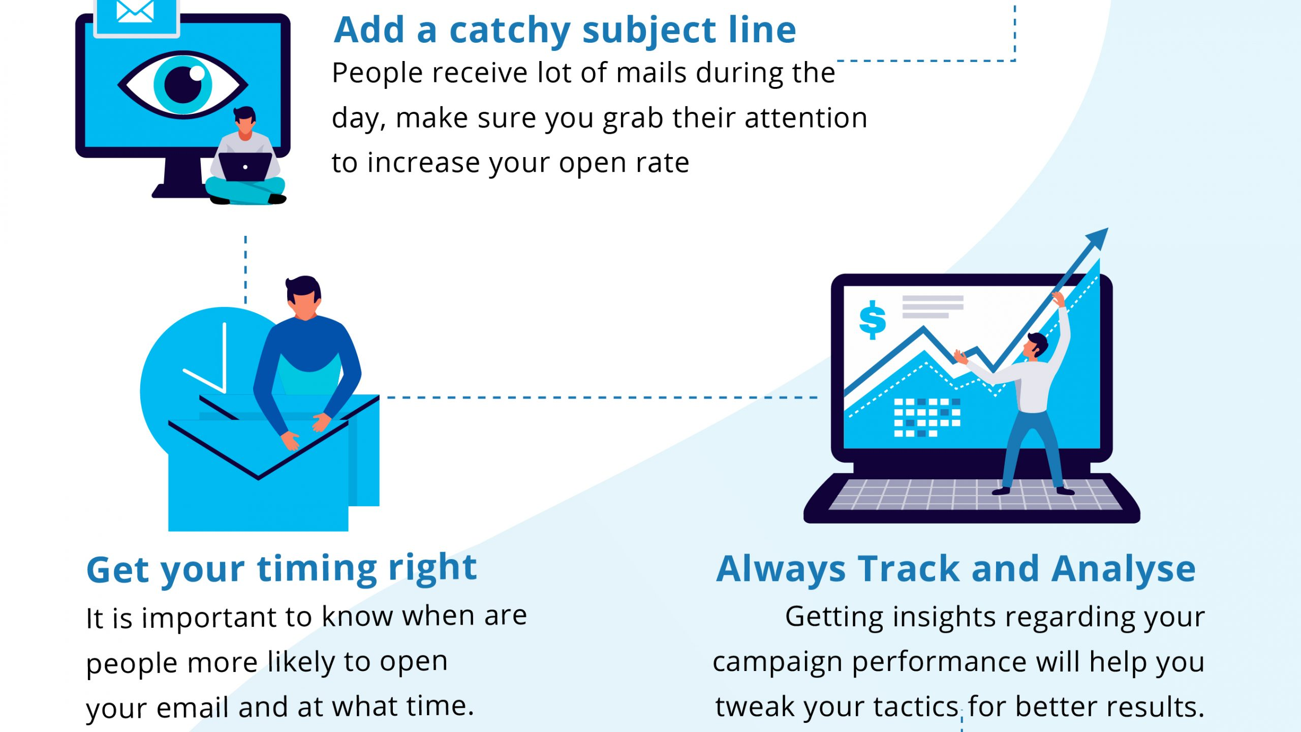 Add a catchy subject line, Get your timing right, Always track and analyse